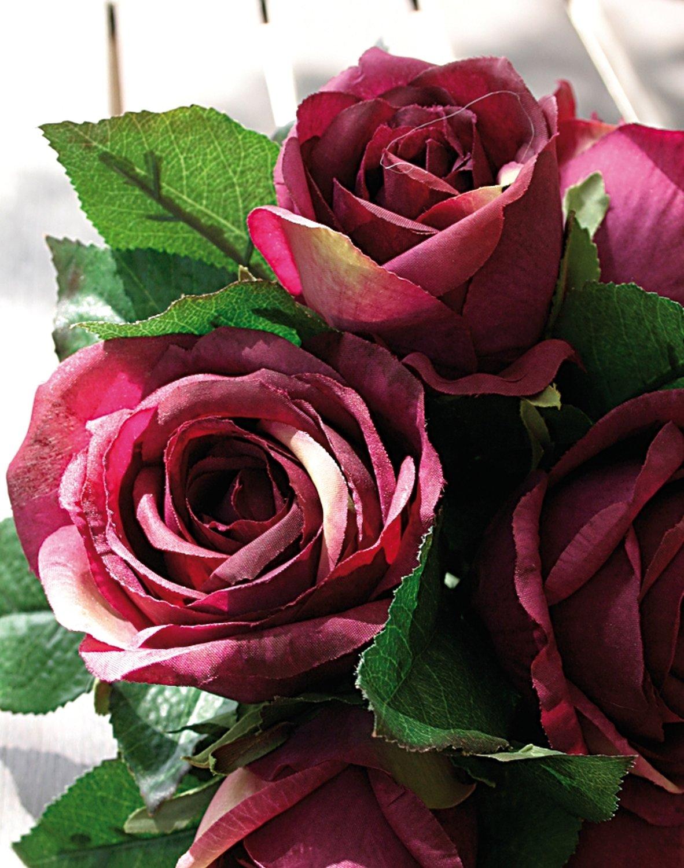 Künstlicher Rosenbund, 7-fach, 25 cm, burgunderrot
