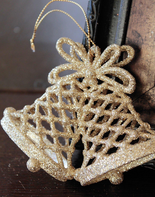 Deko Glocke, Acryl, 8 cm, gold