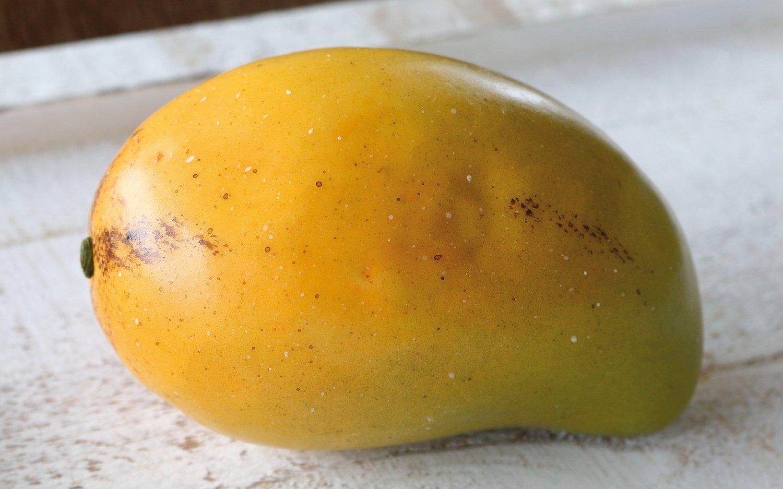 Künstliche Mango, 13 x 8 cm, grün-orange