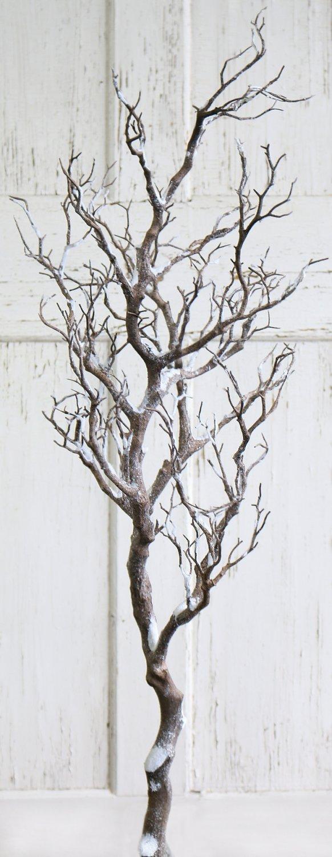 Künstlicher Dekoast mit Schnee, 120 cm, frost-weiß