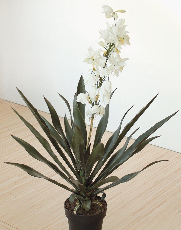Künstliche Yucca, blütend, getopft, 115 cm, grün-weiß