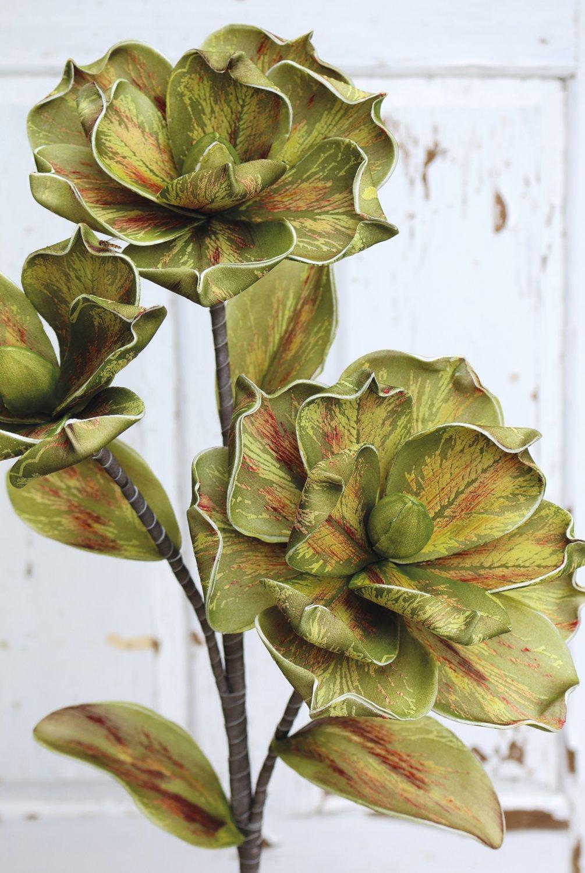 Künstliche Soft flower 'Blüte', 115 cm, grün-braun