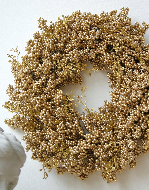 Künstlicher Beerenkranz, Ø 45 cm, gold