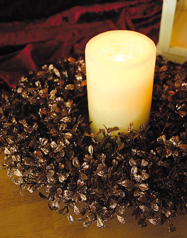 Künstlicher Buchsbaum Kranz mit Glitter aus Kunststoff, Ø 30 cm, braun
