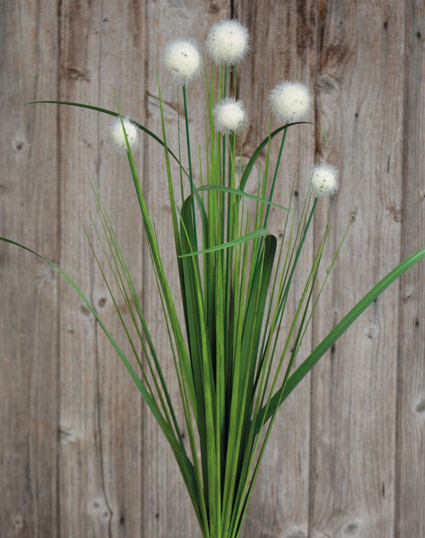 Künstliche Kugelgras, 75 cm, grün-weiß