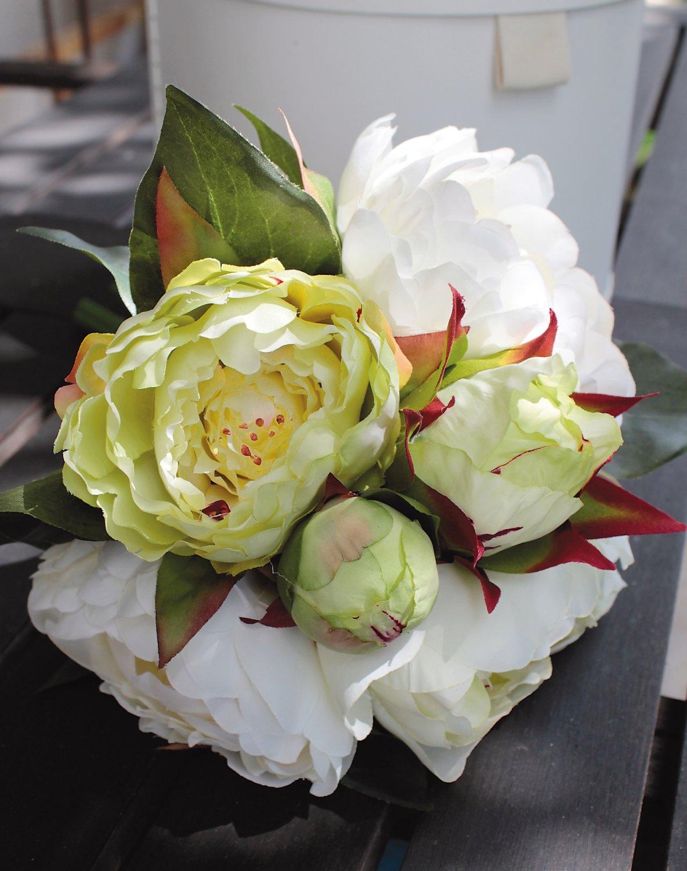 Künstlicher Päonienbund, 6-fach, 35 cm, weiß-grün