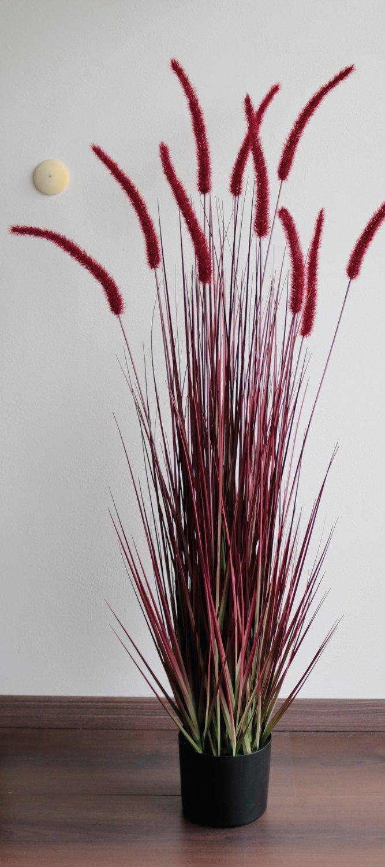 Künstlicher Grasbüschel 'Lampenputzergras', getopft, 120 cm, burgunder-grün