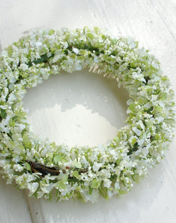 Künstlicher Gypsophiliakranz, Ø 16 cm, creme-grün