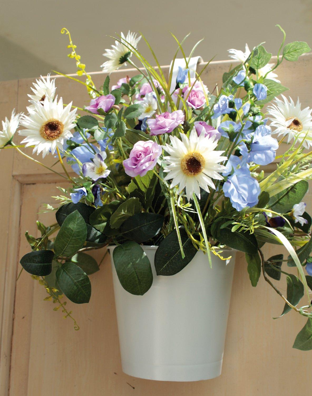 Künstliches Blumenbouquet im Hängtopf, 45 cm, dunkelblau