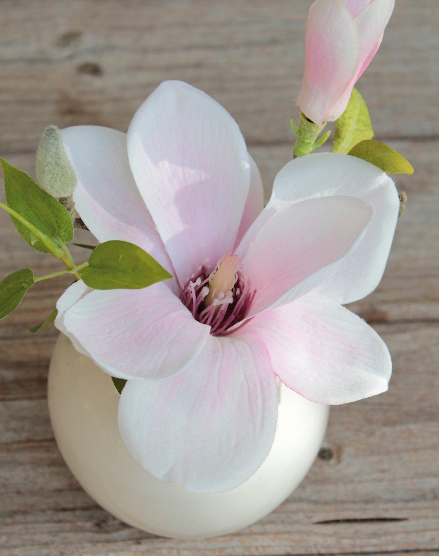 Künstliche Magnolie in Keramiktopf, 15 cm, weiß-rosa