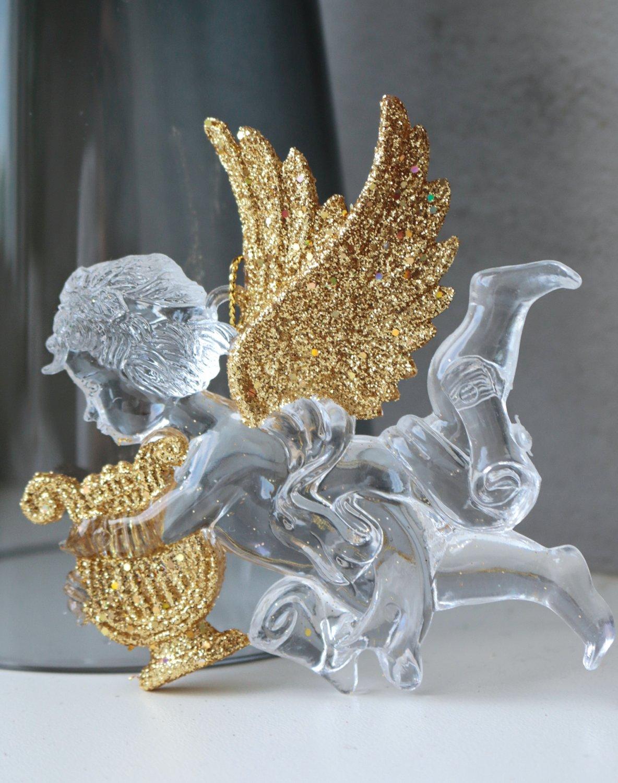 Deko Engel, Acryl, 2 Stück, 10 cm, gold