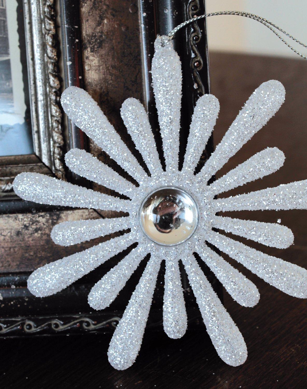 Deko Eisblume, Acryl, Ø 13 cm, weiß-silber