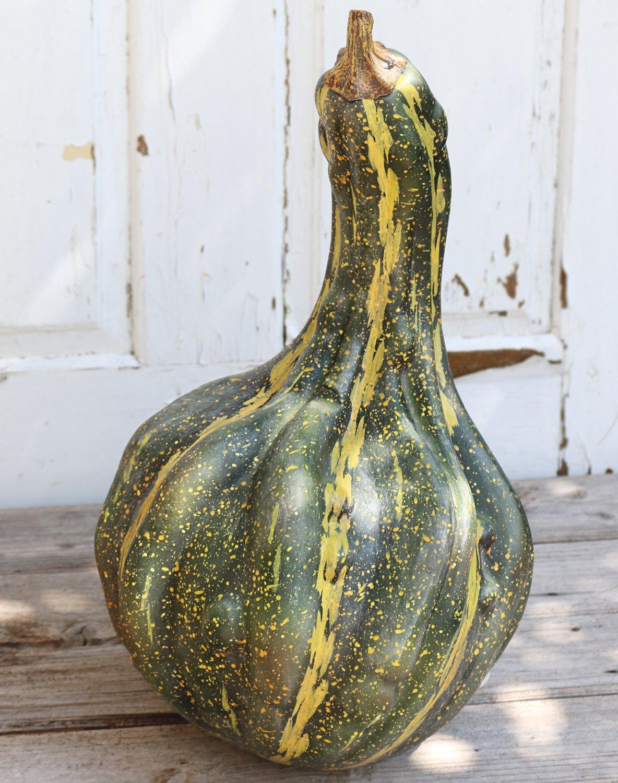 Künstlicher Kürbis, 47 cm, grün-gelb
