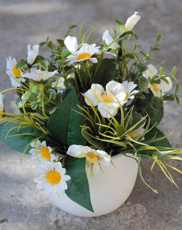 Künstliches Blumenbouquet, getopft, 21 cm, weiß-grün