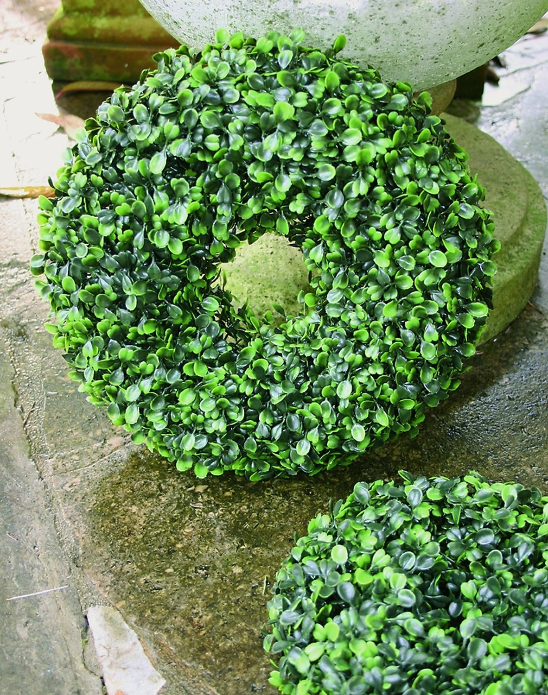 Künstlicher Buchsbaumkranz aus Kunststoff, Ø 25 cm, grün