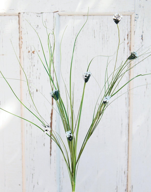 Künstliche Kugelgras, 85 cm, weiß-grün