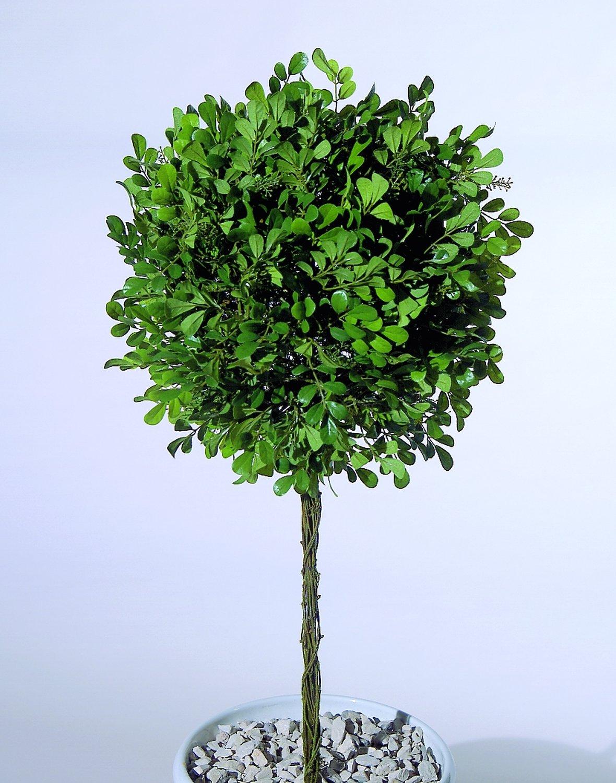 Künstliche Buchsbaumkugel auf Stab, Ø 35 cm, 85 cm, grün
