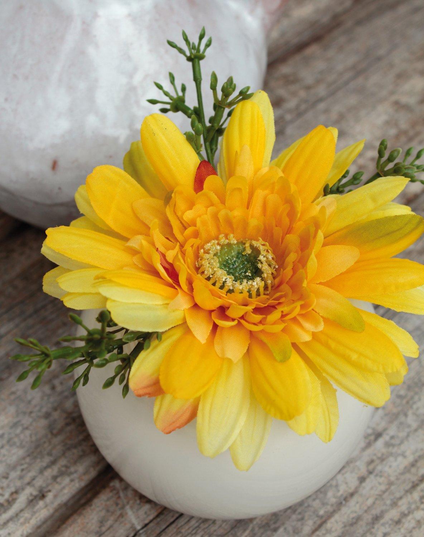 Künstliche Gerbera in Keramiktopf, 12 cm, gelb