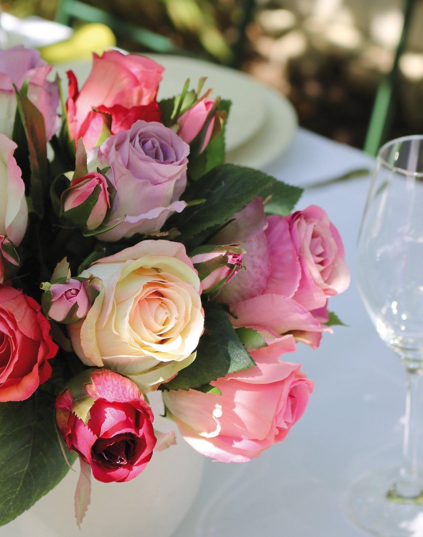 Künstlicher Freiland-Rosenstrauß, 16-fach, 28 cm, rosa-weiß