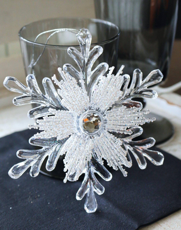 Deko Ornament, Acryl, Ø 14 cm, weiß-silber