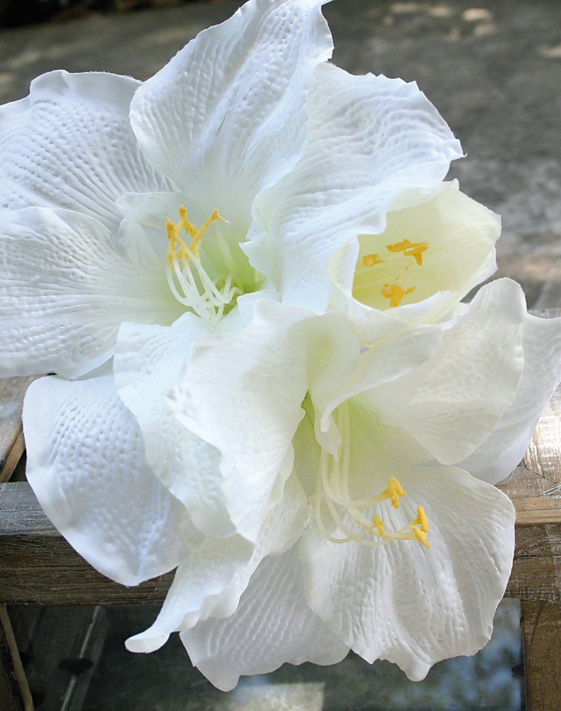 Künstliche Amaryllis, 75 cm, weiß-grün