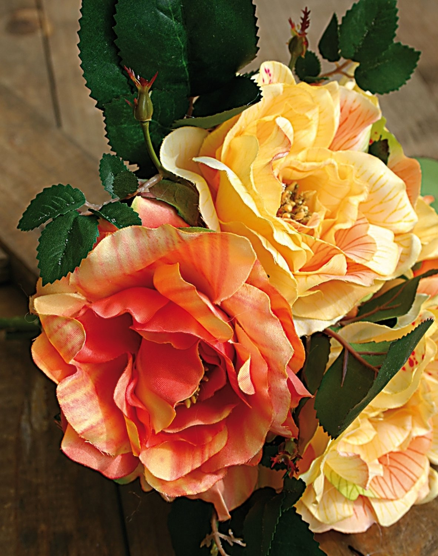 Künstlicher Rosenbund, 5-fach, 24 cm, gelb-orange