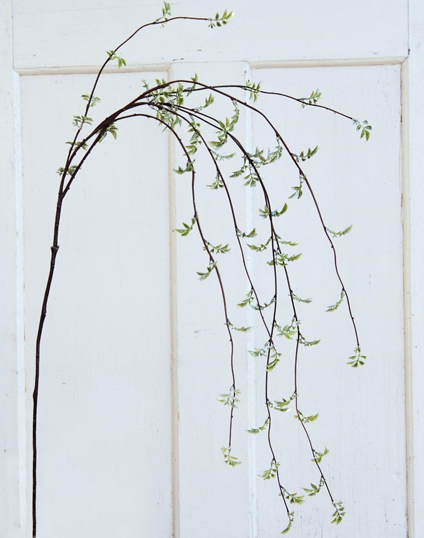 Künstlicher Rosenlaubzweig mit Glitter, 118 cm, frost-grün