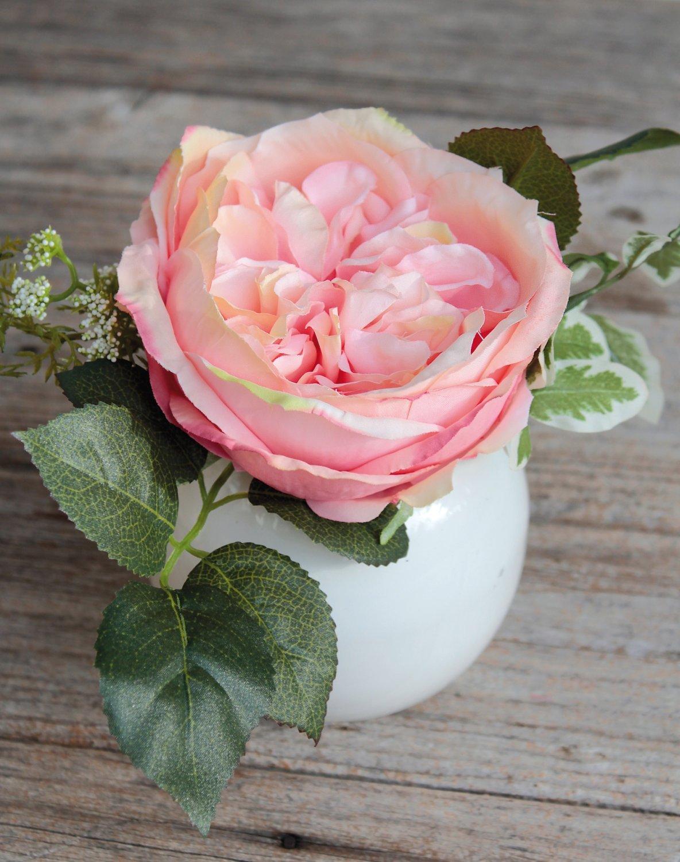 Künstliche Rose in Keramiktopf, 17 cm, aprikose