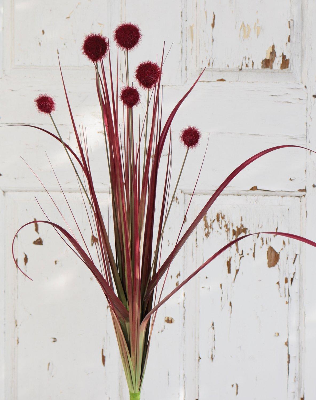 Künstliche Kugelgras, 75 cm, rot-schwarz