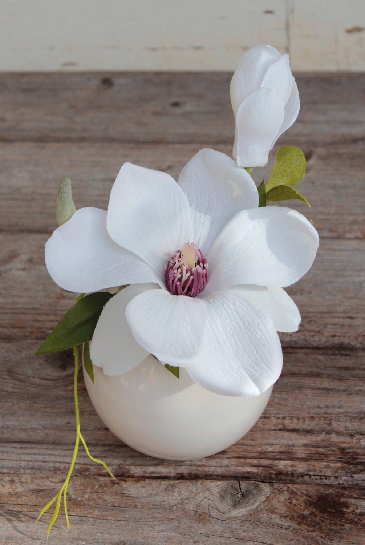 Künstliche Magnolie in Keramiktopf, 15 cm, creme-weiß