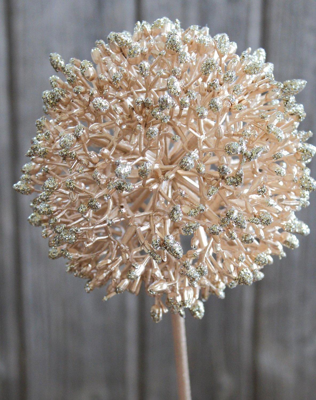 Künstlicher Allium, 80 cm, champagner-camelie