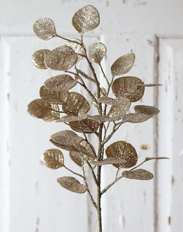 Künstlicher Eukalyptuszweig mit Glitter, 45 cm, gold