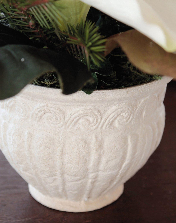 Künstliche Amaryllis-Arrangement mit Kugel, getopft, 26 cm, Ø 30 cm, creme-weiß