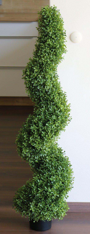 Künstliche Buchsbaum Spirale, getopft, 120 cm, grün