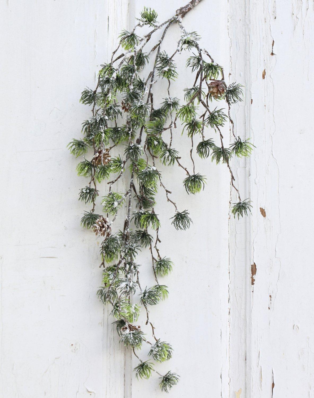 Künstlicher Lärchenhänger mit Schnee, 55 cm, grün-weiß