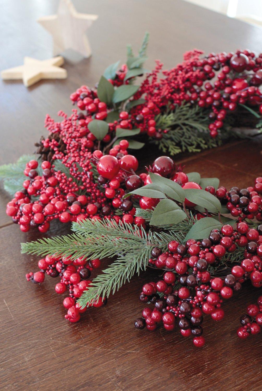 Künstlicher Beerenkranz, Ø 50 cm, rot