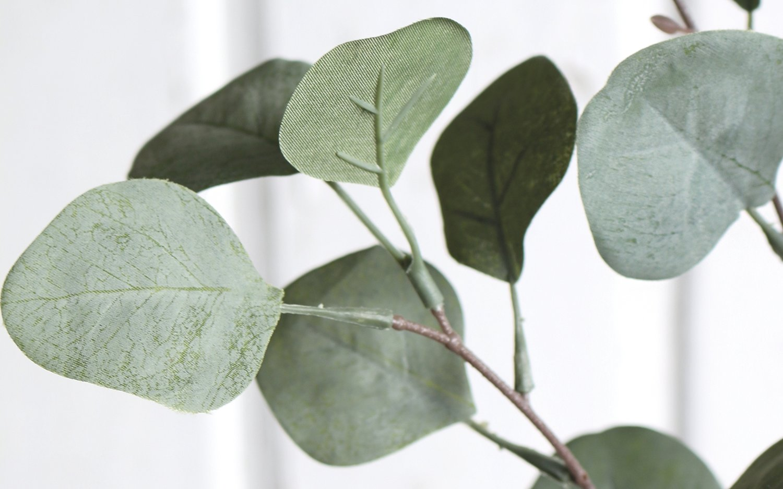 Künstlicher Eukalyptuszweig, 4-fach, 73 cm, dunkelgrün