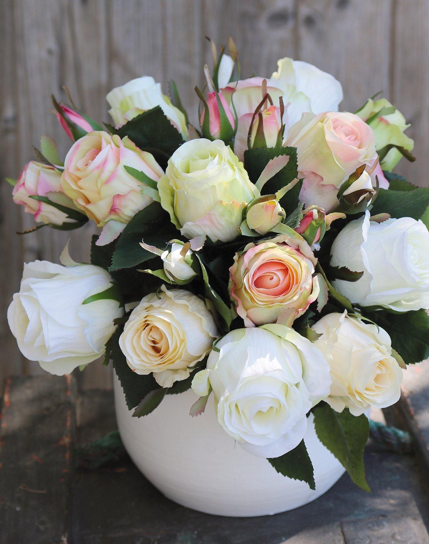 Künstlicher Freiland-Rosenstrauß, 24-fach, 28 cm, weiß-rosa