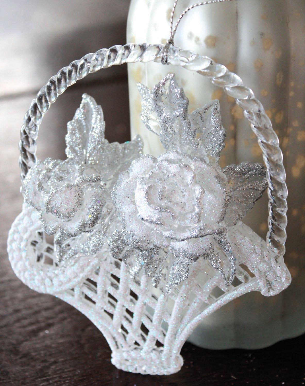 Deko Blumenkorb, Acryl, 12 cm, weiß-silber
