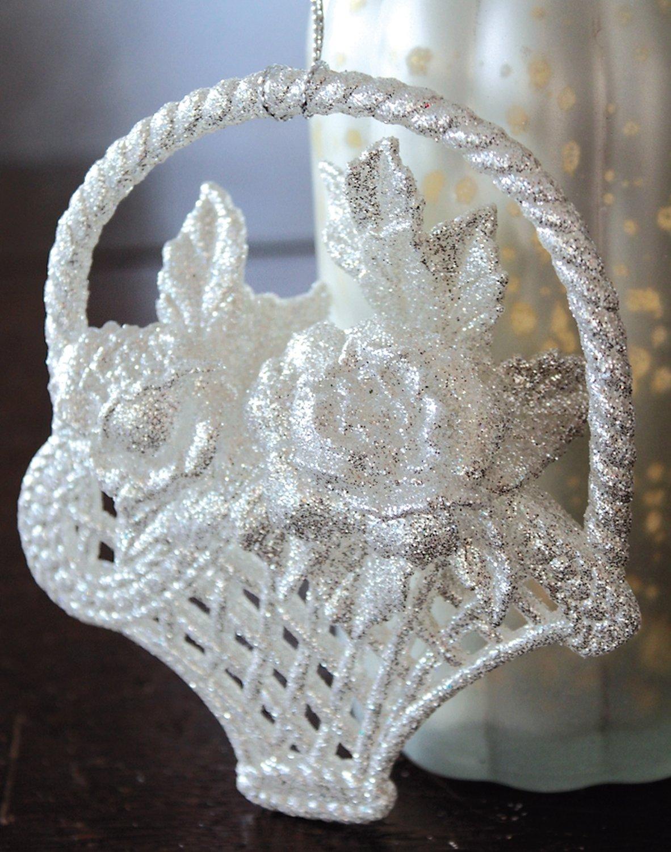 Deko Blumenkorb, Acryl, 12 cm, silber