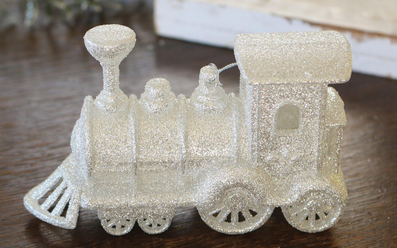 Deko Lokomotive, Acryl, mit Glitter, 12 x 7 cm, weiß-silber