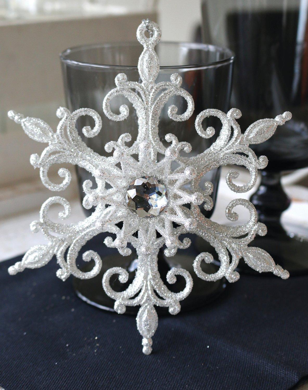 Deko Ornament, Acryl, Ø 14 cm, frost-weiß