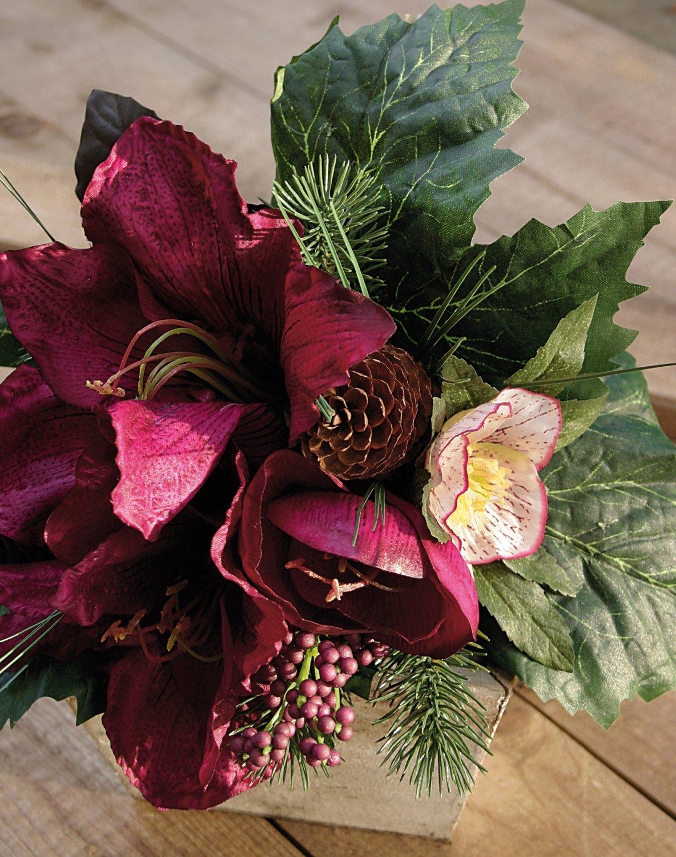 Künstliche Amaryllis Bouquet, Ø 28 cm, rot-schwarz
