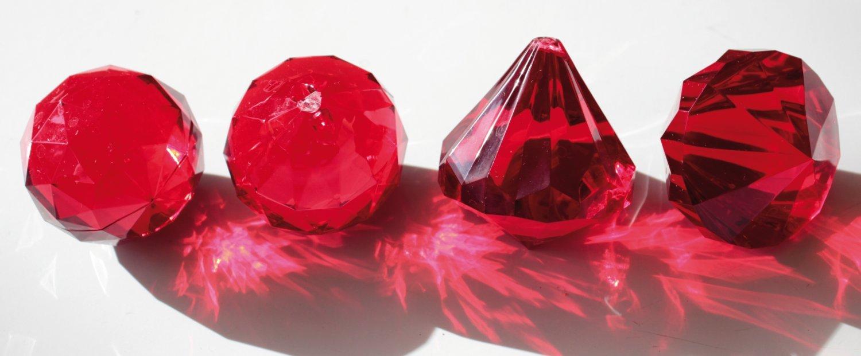 Deko Diamanten / -kugeln, 1 Farbton, 4 cm, rot