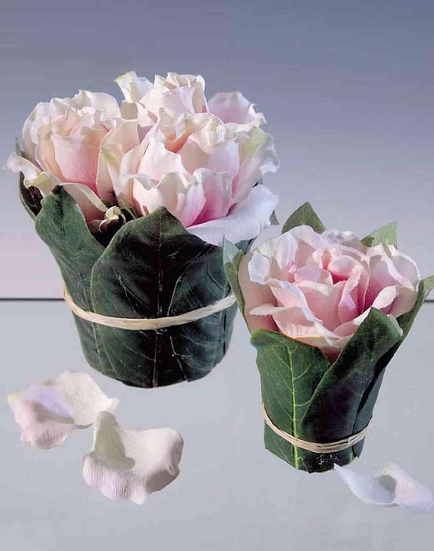 Künstliche Rosentopf mit Blättern, 1 Blüte, 10 cm, rosa