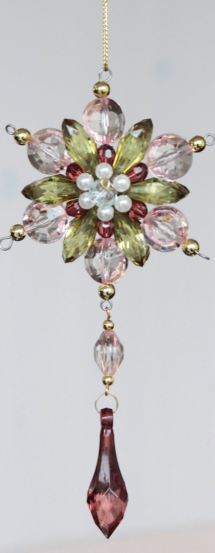 Deko Ornament, Acryl, 16 cm, rosa-grün