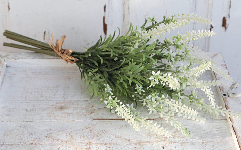 Künstlicher Lavendelbund, 6-fach, 39 cm, creme-grün