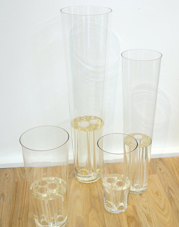 Deko Glasvase mit 'Wasser', 40 cm, Ø 20 cm, transparent