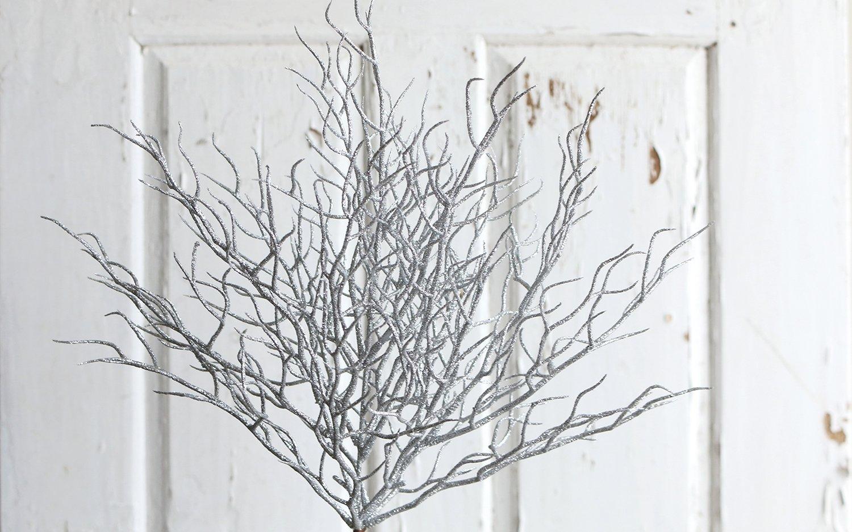 Künstlicher Dekozweig mit Glitter, 40 cm, silber