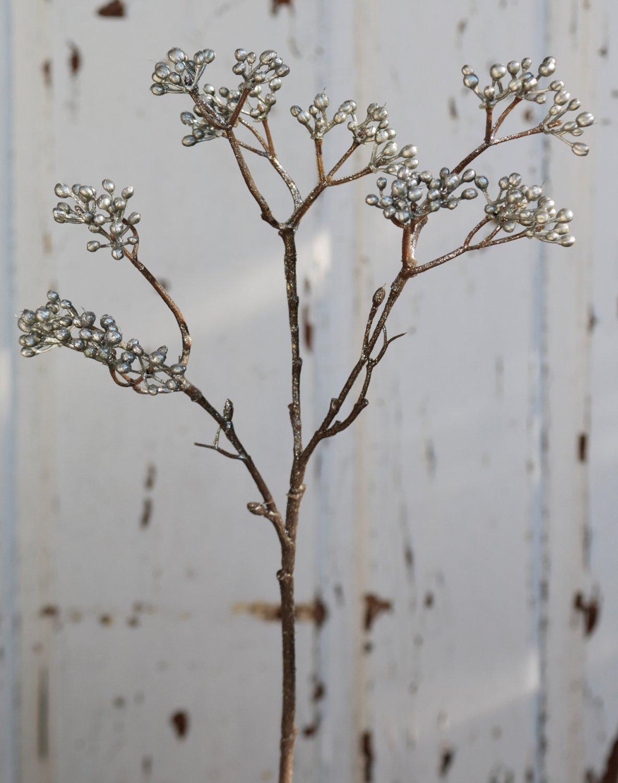 Künstlicher Beerenzweig, 41 cm, silber